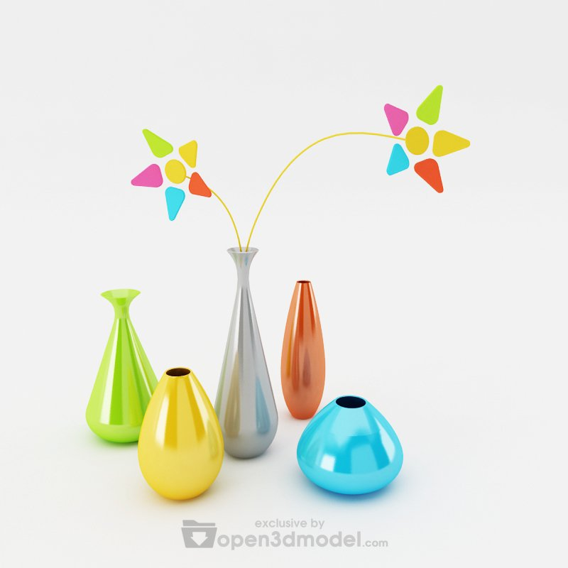 Simply Flower Vases  Vray