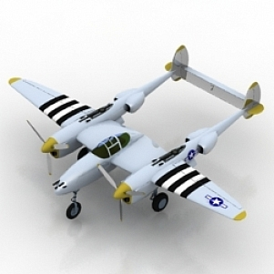 Airplane P38J 3D Model