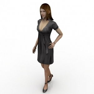 Girl Wearing Skirt 3D Model