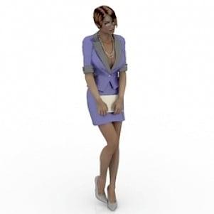 Beautiful Office Girl 3D Model