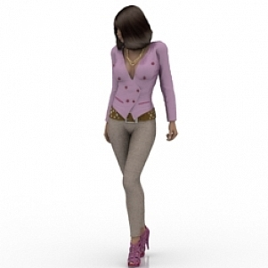 Modern Fashion Girl 3D Model