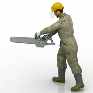 Worker with Saw 3D Model