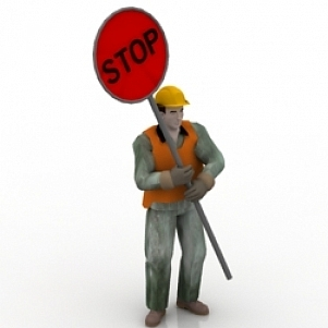 Worker with Stop Board 3D Model
