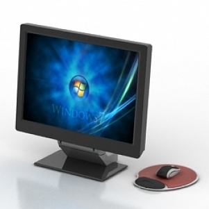 PC Monitor with Mouse 3D Model