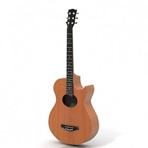 Classic Guitar 3D Model Wooden Material