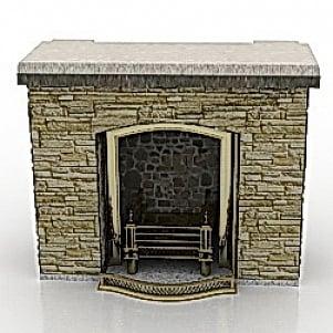 Stone Fireplace 3D Model