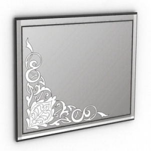 Floral Corner Decoration Mirror 3D Model