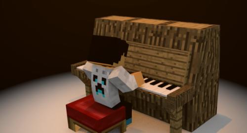 プレーヤー付きMinecraftピアノ