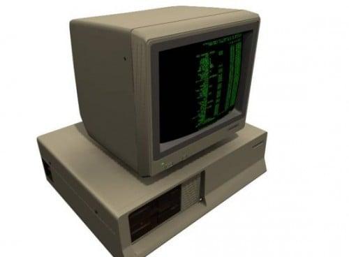 الكمبيوتر القديم مع لوحة مفاتيح CRT