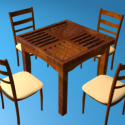 Wooden Table Chairs Set 3d Model