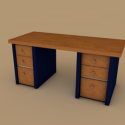 Wood Desk Free 3d Model