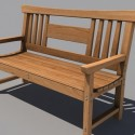 Road Wooden Bench 3d Model