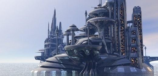 Organodron Scifi kaupungin kohtaus