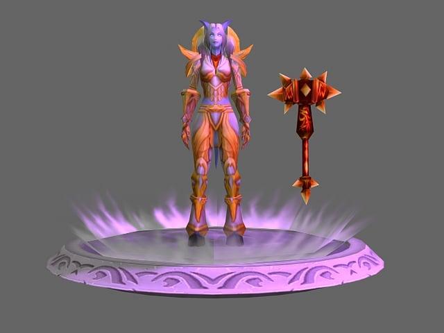 Female Draenei Character 3d Model
