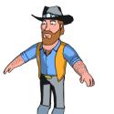 Chuck Norris Cartoon Character Free 3d Model