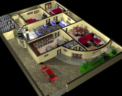Download freebies 3d free house plan interior free 3d model house design