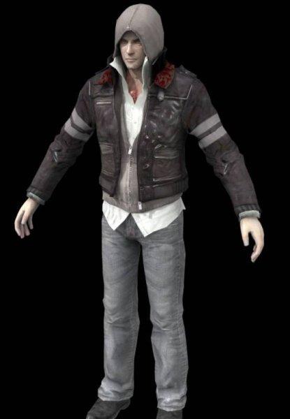 Hombre con personaje de abrigo
