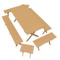 Wooden Outdoor Furniture Set 3d Models