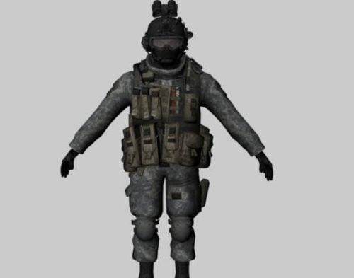 الجندي مع الزي الرسمي