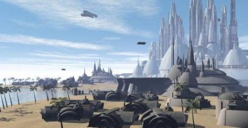 Escena exterior de la ciudad del milenio