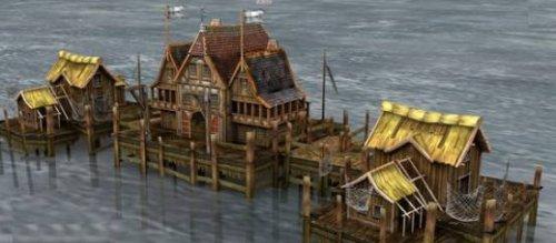 Water World Asian Building Scene