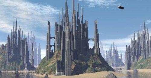 Scifi trooppinen kaupungin kohtaus
