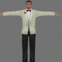 Sean Connery White Tuxedo Free 3d Model