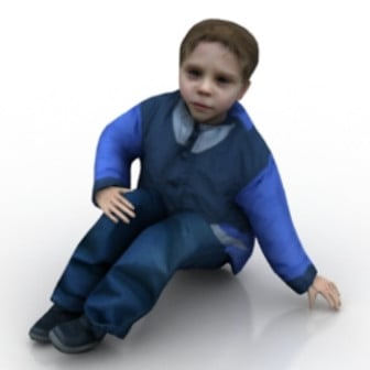 Children Boy Sitting Character 3d Max Model Free
