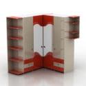 赤いコーナー食器棚キャビネット