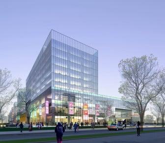 Exterior Night Scene  Trade Center Building