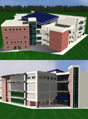 School building 3d max model 3ds max free download for Build house online 3d free