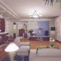 غرفة المعيشة النموذجية الداخلية المشهد