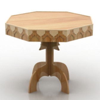 Octagonal Wooden Table 3d Max Model