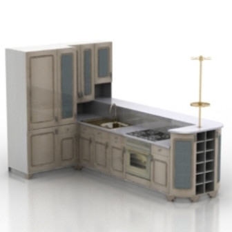 Kitchen furniture 3d max model free 3ds max free - Kitchen design 3d model free download ...