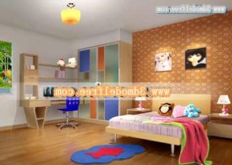 Renkli Çocuk Yatak Odası İç Sahne