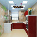 Red Style Kitchen Interior Scene