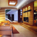 Wooden Living Room Interior Scene 3dsMax Model