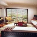 مشهد غرفة المعيشة الخشبية الحديثة