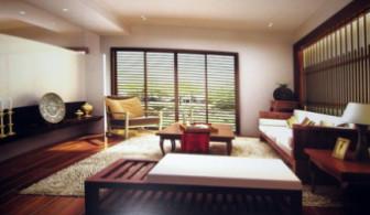 Modern Wooden Living Room Scene