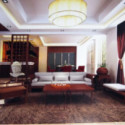 Chinese Wooden Living Room Interior Scene