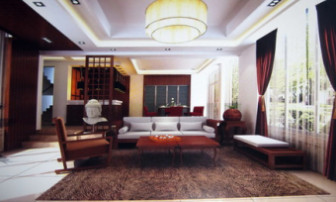 Chinese Wooden Living Room Interior 3dsMax Scene