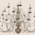 Continental Iron Metal Glass Chandelier