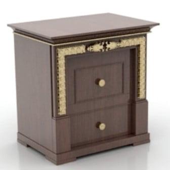 Gold Rimmed Bedside Cabinets 3dsMax Model