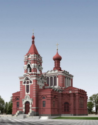 Red Church Exterior Scene