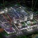 Visão noturna da cidade moderna cena exterior
