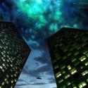 Grattacieli di scena notturna