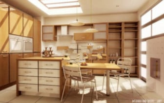 Wooden Kitchen Design Interior Scene
