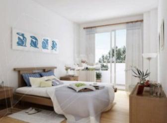 Beyaz clead tasarım yatak odası iç sahne