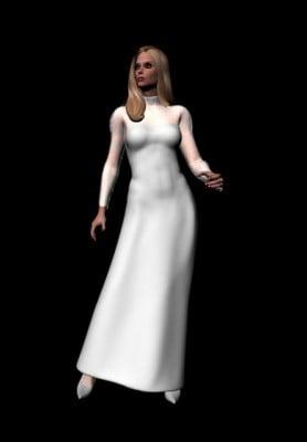 Lady  White Dress 3dsMax Model Human Character