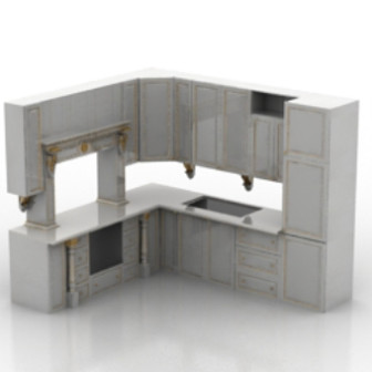 White Cabinet Kitchen Interior 3d Max Model Free
